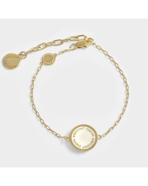 Marc Jacobs - White Logo Disc Bracelet In Cream Brass - Lyst