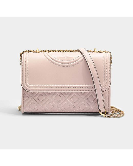 8ee219284a66a Tory Burch - Fleming Small Convertible Shoulder Bag In Pink Lambskin - Lyst  ...