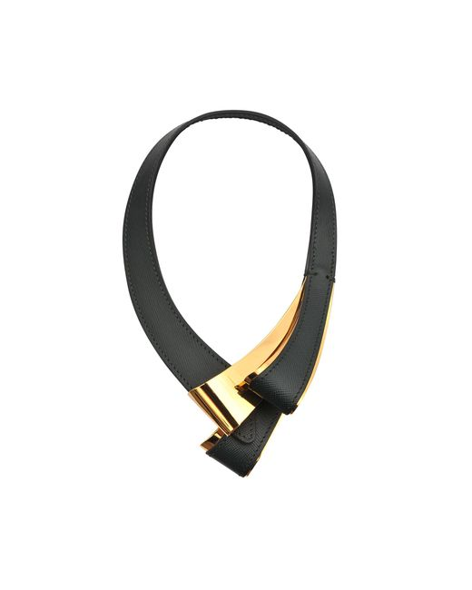 Marni | Black Leather And Metal Necklace | Lyst