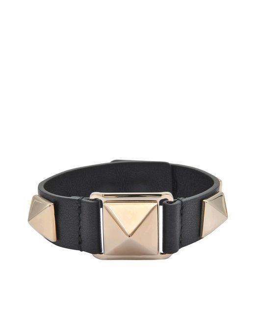 Valentino | Black Stud Bracelet | Lyst