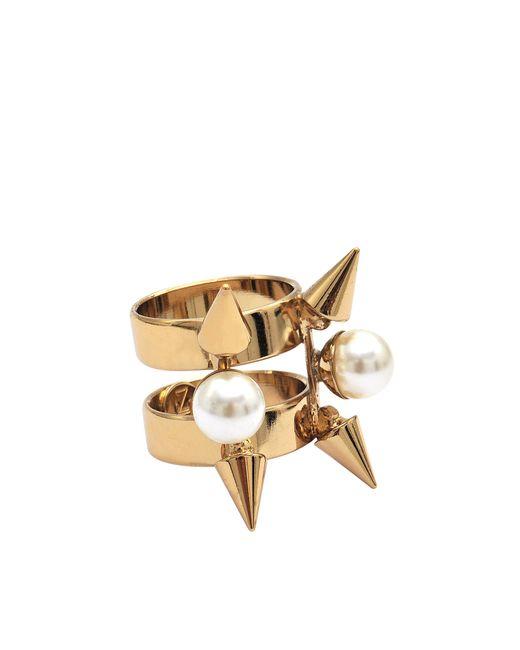 Helene Zubeldia   Metallic Spikes Pearls Ring   Lyst