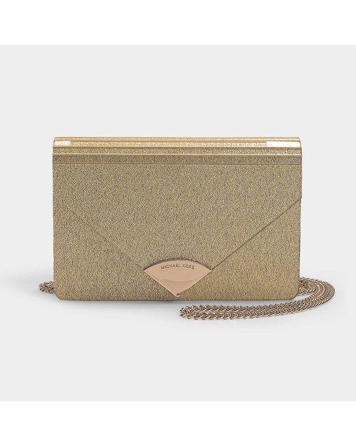 8a8e1de93 MICHAEL Michael Kors - Metallic Barbara Medium Envelope Clutch Bag In Pale  Gold Pvc - Lyst ...