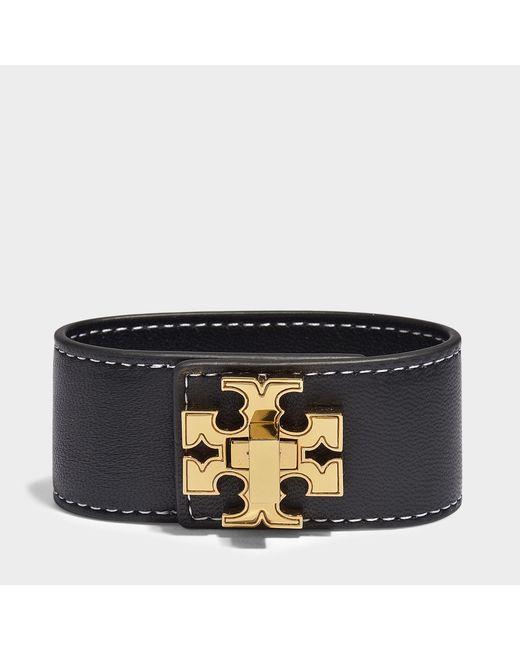 Tory Burch - Black Logo Single Wrap Bracelet - Lyst