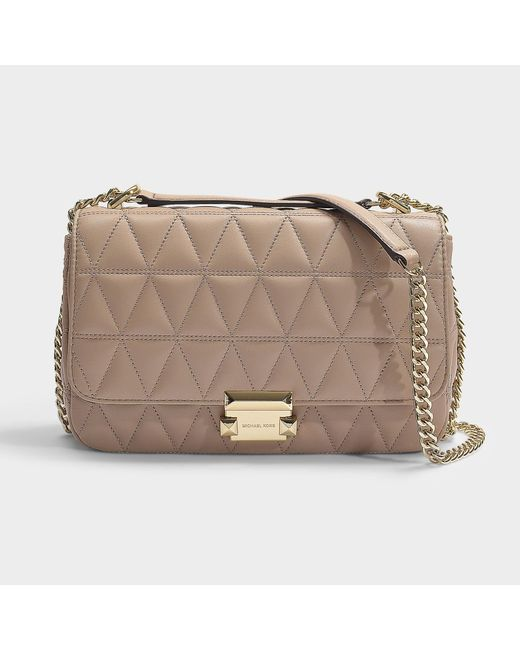 f94c923a114b MICHAEL Michael Kors - Natural Sloan Large Chain Shoulder Bag In Truffle  Quilted Lambskin - Lyst ...