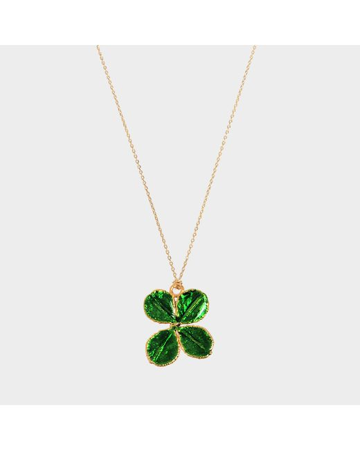 Aurelie Bidermann - Green Fine Jewellery - Natural Mini Clover 18 K And Emerald Lacquer - Lyst