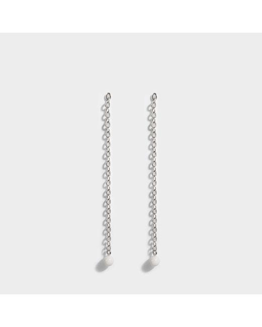 Saskia Diez - Multicolor White Barbelle Earrings In Silver - Lyst