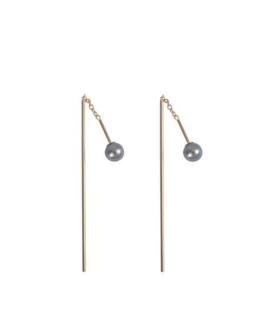 Mizuki | Multicolor Bar Thread Thru Pearl Earrings | Lyst