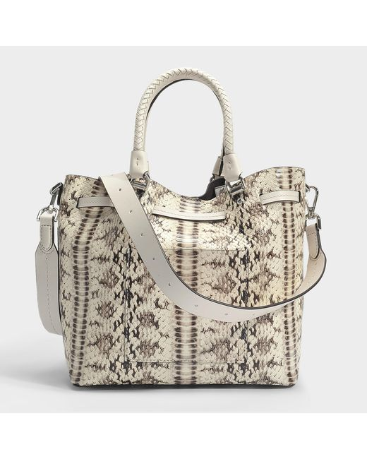 Blakely Medium Bucket Bag in Natural and Light Cream Marked Embossed Snake Michael Michael Kors 8r2DC2fNP