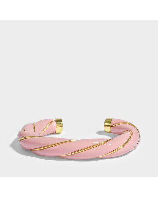 Aurelie Bidermann - Multicolor Diana Twisted Bracelet In Pink 18k Gold-plated Brass - Lyst