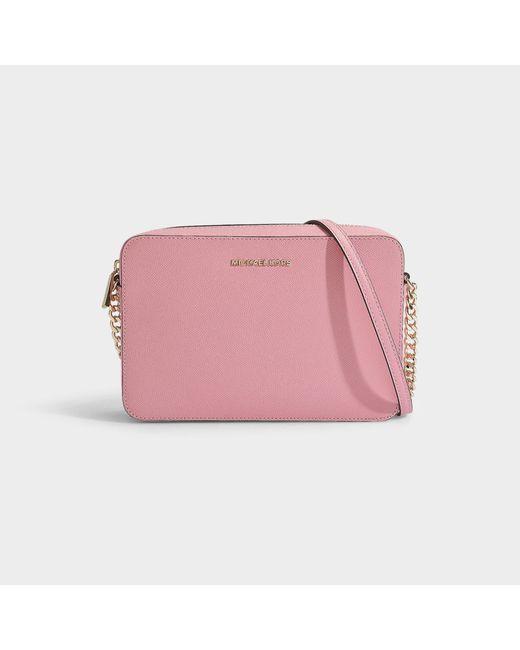 dbc41ac33f03 MICHAEL Michael Kors - Pink Large East West Crossbody Bag In Carnation  Crossgrain Leather - Lyst ...
