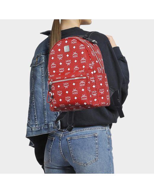 f1d7b3f25 ... MCM - Stark White Logo Visetos Backpack 32 In White Logo Viva Red  Coated Canvas ...