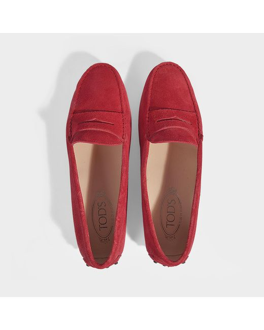 94fc4e13bec ... Lyst Tod s - Red Gommino Suede Loafers ...
