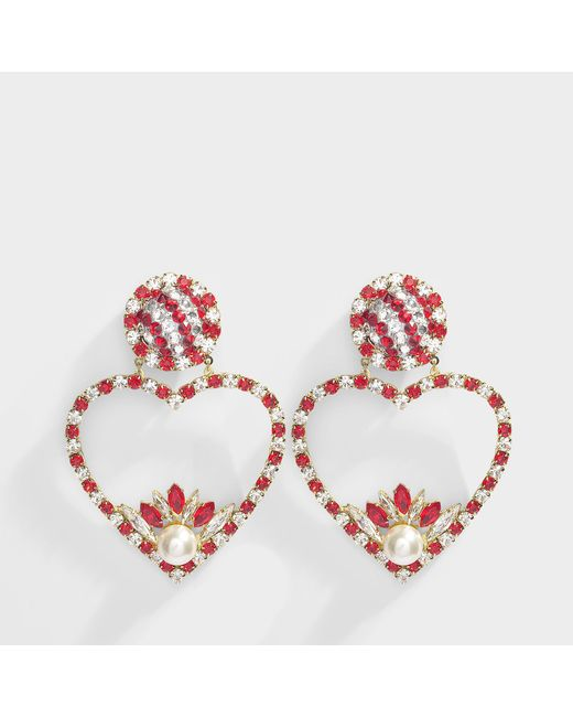 Shourouk - Renata Red Earrings In Gold Plated Brass And Red And Silver Strass - Lyst