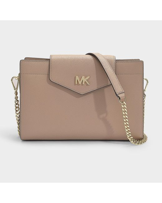 7b1e850e83b0 MICHAEL Michael Kors - Natural Crossbodies Large Convertible Crossbody  Clutch Bag In Truffle Grained Calfskin ...
