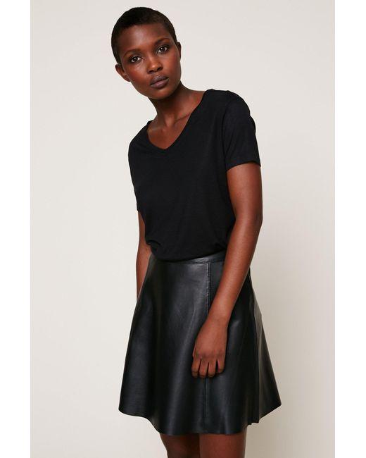 vila leather skirt in black lyst