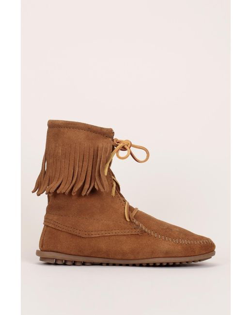 Minnetonka | Brown Bootee And Ankle Boot | Lyst