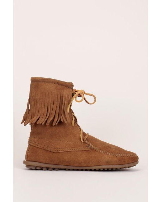 Minnetonka - Brown Bootee And Ankle Boot - Lyst