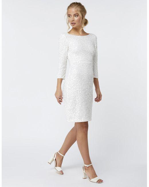 Lyst Monsoon Bellona Sequin Bridal Dress In White - White Sequin Wedding Dress