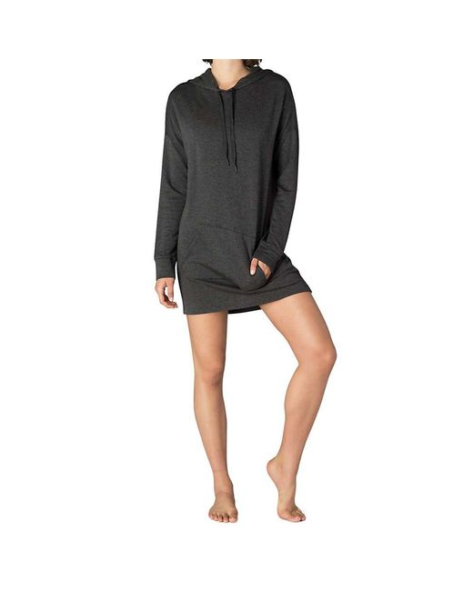 Beyond Yoga - Gray Hood Times Sweatshirt Dress - Lyst
