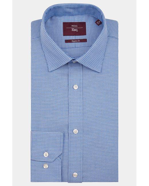 Moss Esq. - Regular Fit Blue Single Cuff Textured Shirt for Men - Lyst