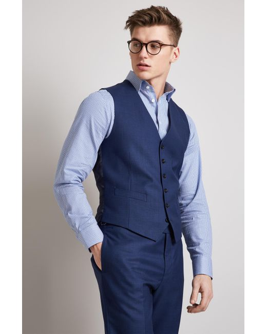 Hardy Amies - Tailored Fit Plain Blue Waistcoat for Men - Lyst