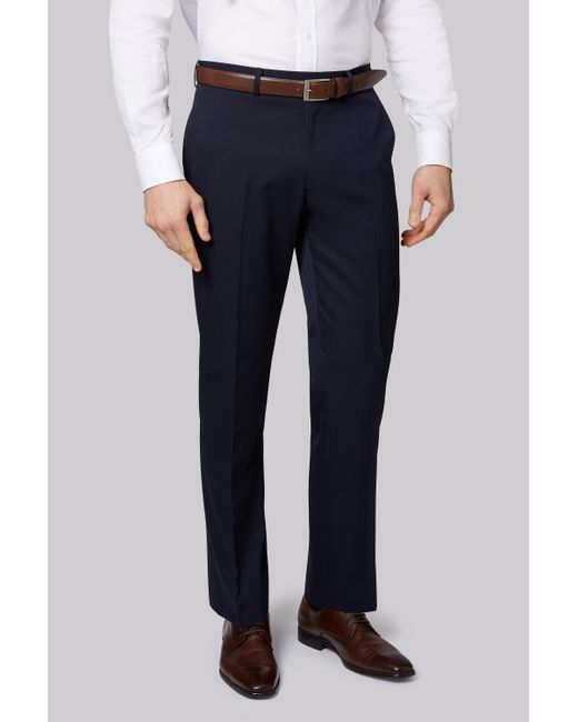 Moss Esq. - Blue Regular Fit Machine Washable Navy Trousers for Men - Lyst