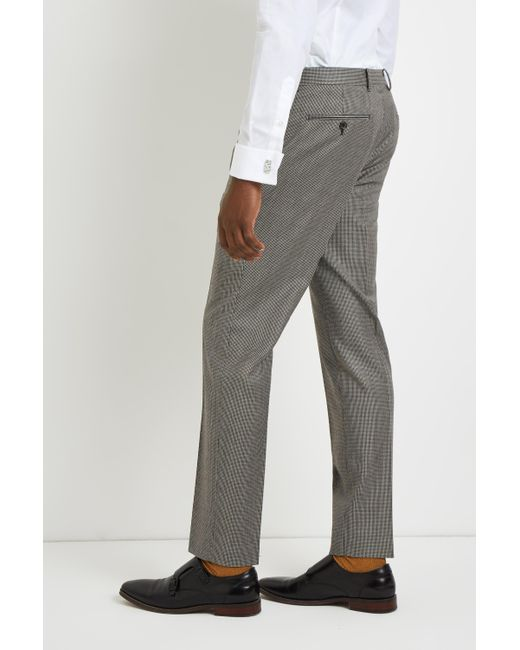 5e4be5cd0fa ... French Connection - Gray Slim Fit Light Grey Puppytooth Trousers for  Men - Lyst ...