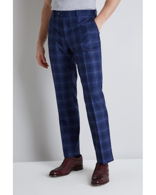 8a90e9060265c0 Ted Baker Tailored Fit Blue Bold Check Trousers in Blue for Men - Lyst
