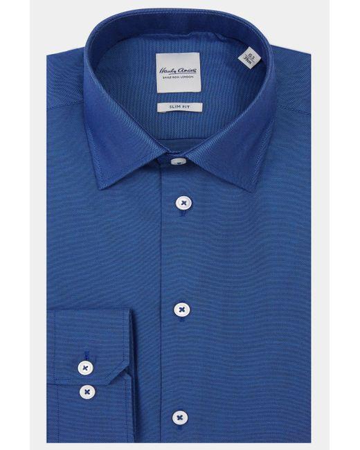 Hardy Amies - Blue Slim Fit Navy Single Cuff Shirt for Men - Lyst