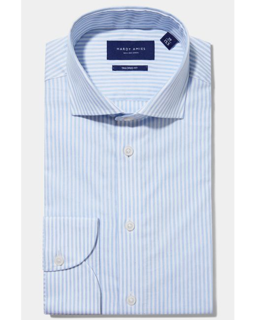 Hardy Amies - Blue Tailored Fit Sky Single Cuff Melange Stripe Shirt for Men - Lyst