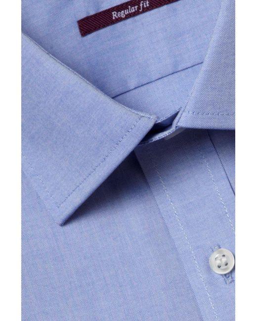 Moss Esq. - Regular Fit Blue Single Cuff Oxford Non Iron Shirt for Men - Lyst