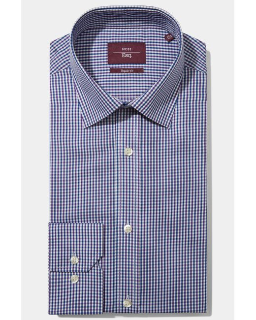 Moss Esq. - Regular Fit Purple & Blue Single Cuff Check Non Iron Shirt for Men - Lyst