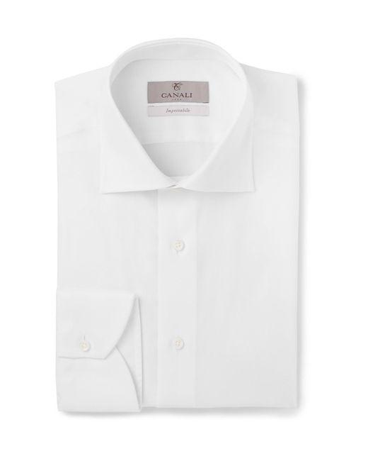 Canali - White Cutaway-collar Cotton-piqué Shirt for Men - Lyst