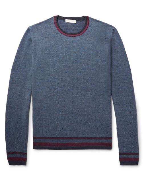 Etro | Blue Contrast-trimmed Herringbone Wool Sweater for Men | Lyst
