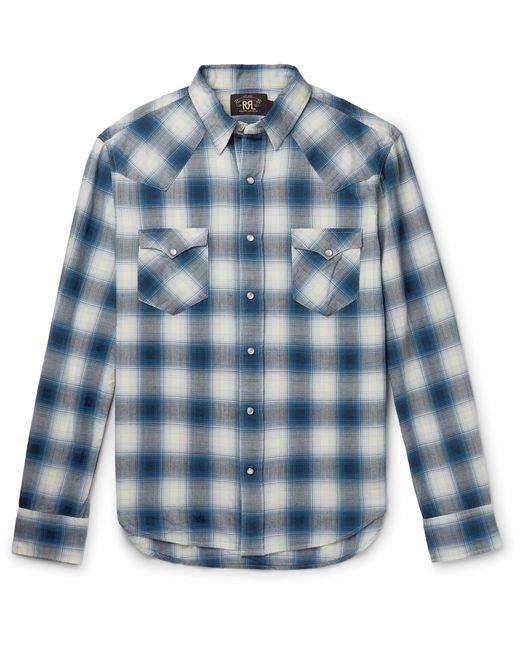 39642dc9 RRL - Blue Slim Fit Plaid Western Shirt for Men - Lyst ...
