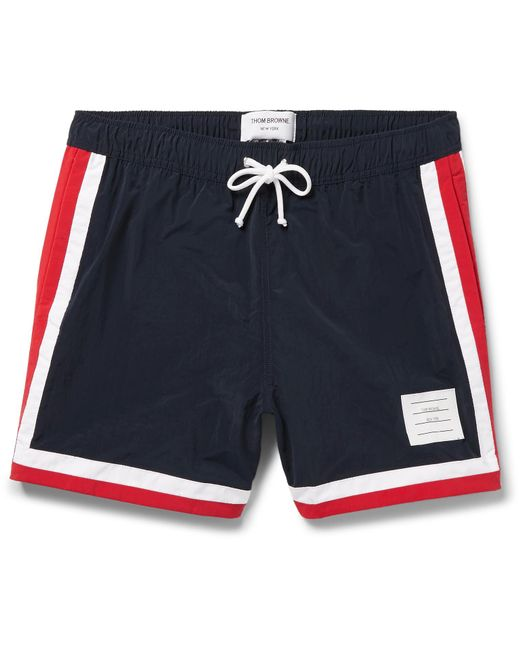 Thom Browne | Blue Mid-length Stripe-trimmed Swim Shorts for Men | Lyst