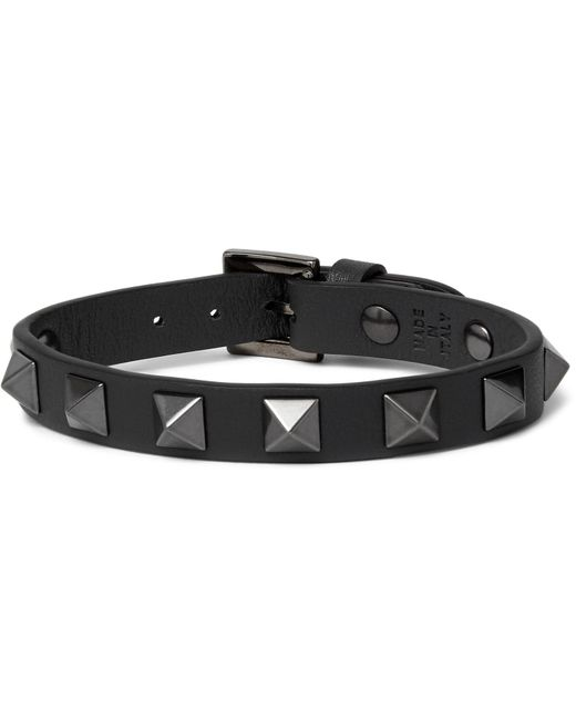 Valentino - Gray Garavani Rockstud Leather And Ruthenium Bracelet for Men - Lyst