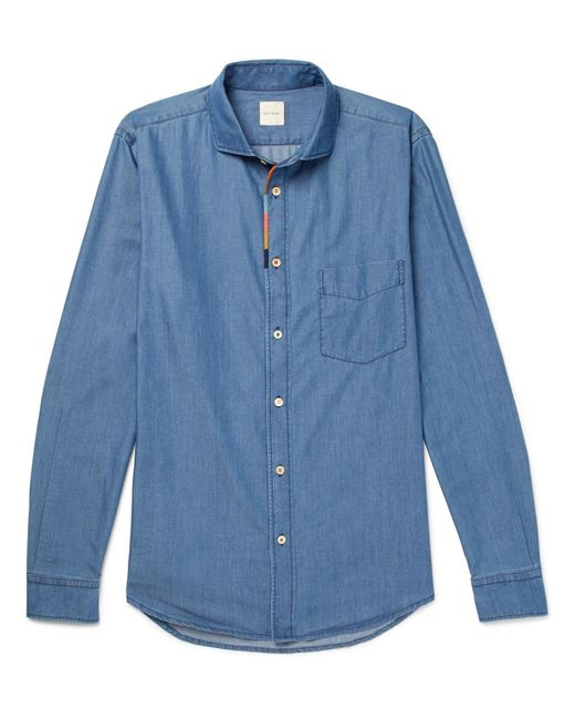 Paul Smith | Blue Cutaway-collar Embroidered Cotton-blend Chambray Shirt for Men | Lyst