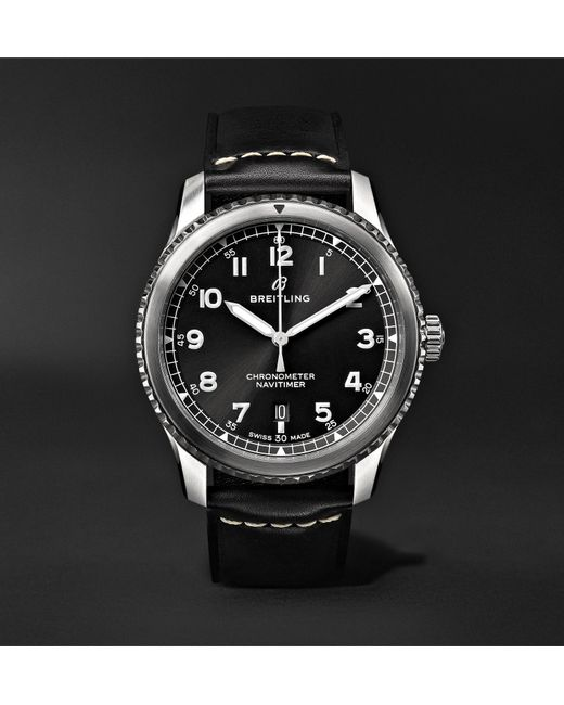 Breitling - Black Navitimer 8 Automatic 41mm Steel And Leather Watch for Men - Lyst