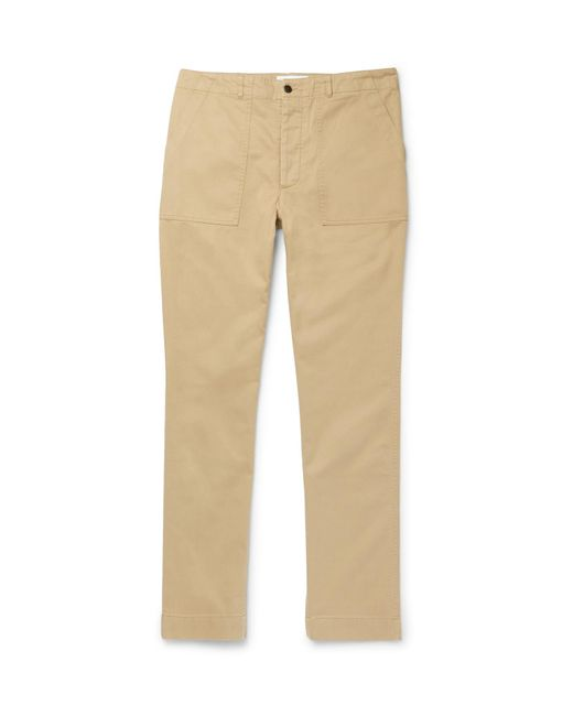 Officine Generale - Natural Cotton-twill Trousers for Men - Lyst