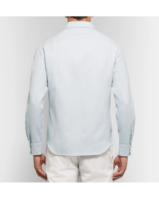 46fff7b51b9 ... Club Monaco - Blue Slim-fit Button-down Collar Double-faced Cotton Shirt  ...