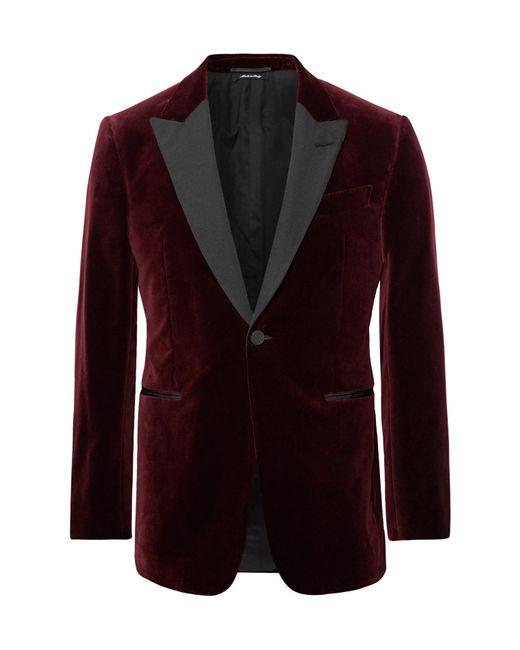 Dunhill - Purple Burgundy Kensington Slim-fit Faille-trimmed Cotton-velvet Tuxedo Jacket for Men - Lyst