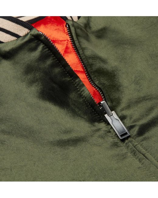 a431aae70 Gucci Reversible Webbing-trimmed Satin-twill Bomber Jacket in Green ...