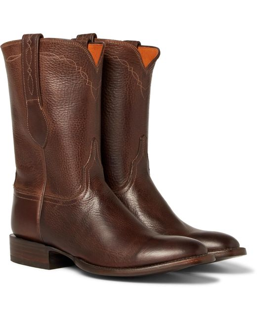 Kingsman - Brown + Luchesse Statesman Embroidered Burnished-leather Boots for Men - Lyst