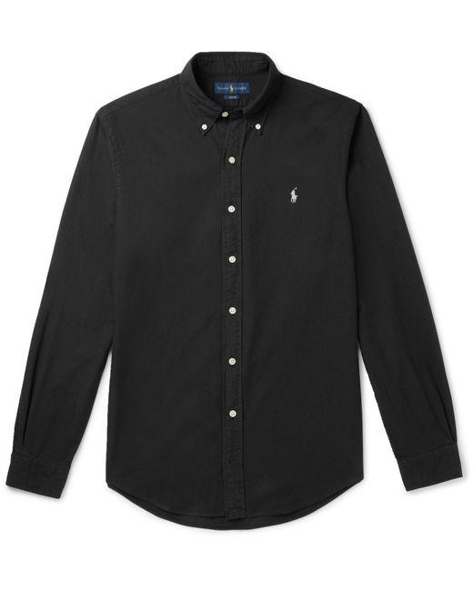 b11ddf05065 Polo Ralph Lauren - Black Slim-fit Button-down Collar Garment-dyed Cotton  ...
