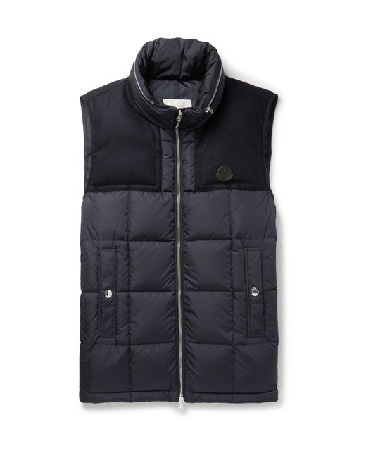 Moncler | Blue Cesar Wool-trimmed Quilted Shell Down Gilet for Men | Lyst