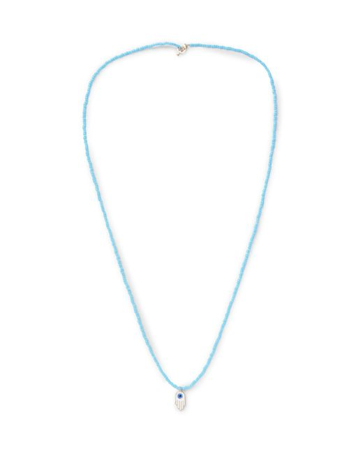 Luis Morais | Blue Glass Bead Enamelled Gold Necklace for Men | Lyst