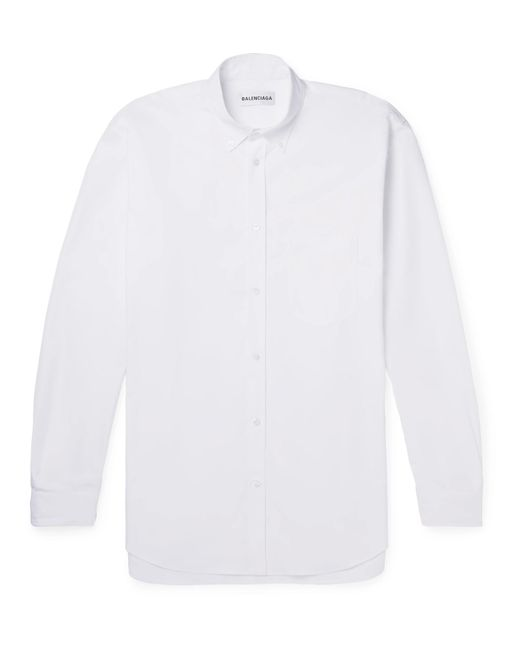 Balenciaga - White Oversized Button-down Collar Embroidered Cotton-poplin Shirt for Men - Lyst