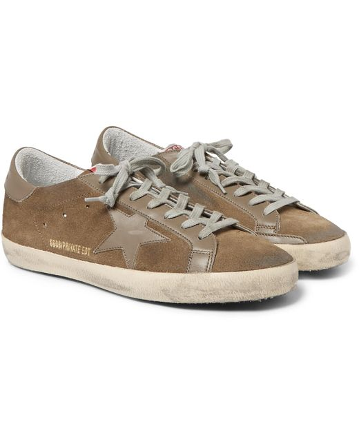 Deluxe Leather Suede Gloves: Golden Goose Deluxe Brand Superstar Distressed Leather