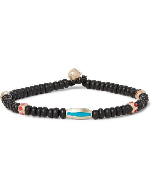 Luis Morais | Black Glass Bead Enamelled Gold Bracelet for Men | Lyst